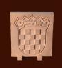hrvatski grb na nožicama, brački kan /  Croatian Coat of Arms on thin carriers,Brac stone         en