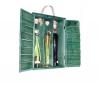 zelena drvena nosiljka za 3 boce/ A green wooden holder for thre bottles