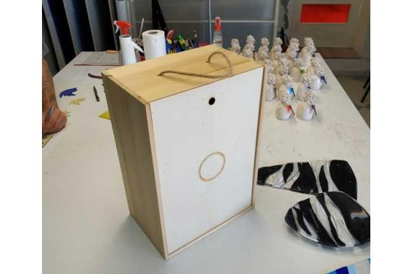 drvena kutija za murano brod / wooden box for murano sailboat