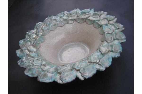 plitka keramička zdjela-list, unikat / Shallow Ceramic Bowl, unique