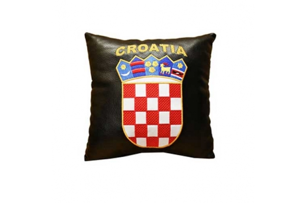 kožni jastuk, hr grb /Black Pillow - Croatian coat of Arms