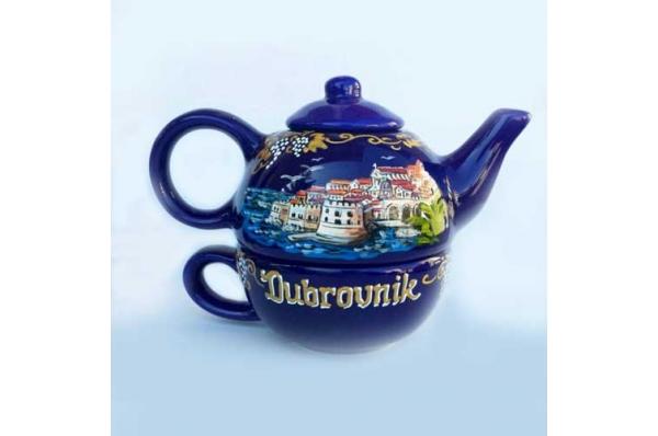 keramički čajnik sa šalicom / Ceramic kettle with mug