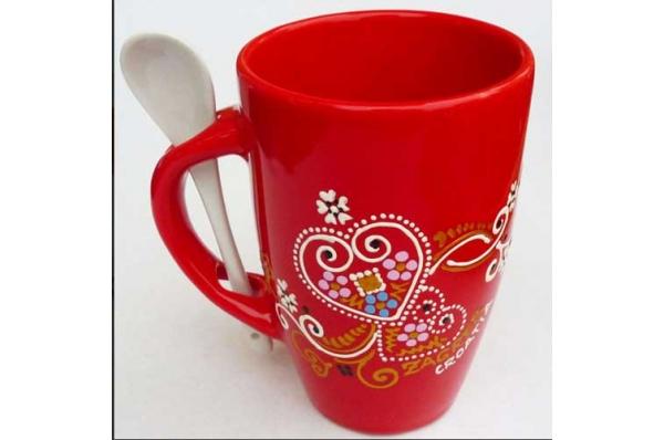 keramički lončić sa žlicoma /Ceramic Mug -spoon