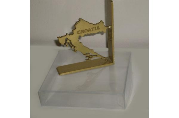 mesingani pritiskač papira -Croatia/ Brass Paperweight - Croatia