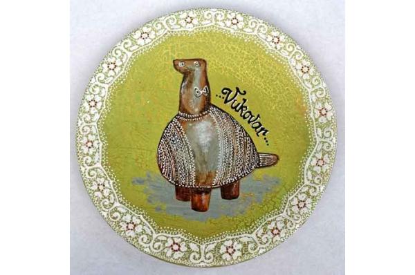 ukrasni tanjur, vučedolska golubica/ The Vucedol Dove, decorative plate 18cm