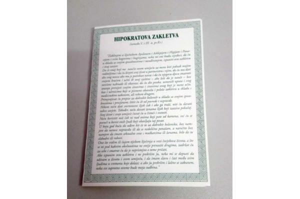 Hipokratova zakletva, privjesnica /The Hippocratic Oath , multi-lingual leaflet