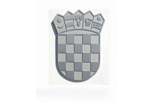 HR grb aluminijski,pjeskareni/ Croatian Coat of Arms, aluminium, sandblasted