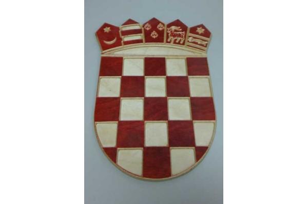 drveni hrvatski grb, zidni / Croatian Coat of Arms, wooden, for a wall