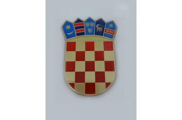 HR grb ,mesingani obojeni / Croatian Coat of Arms, aluminium, brass