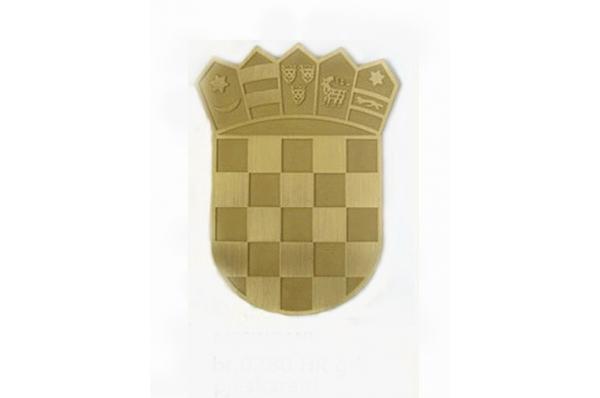 HR grb mesingani ,pjeskareni / HR grb aluminijski,pjeskareni/ Croatian Coat of Arms,brass, sandblasted