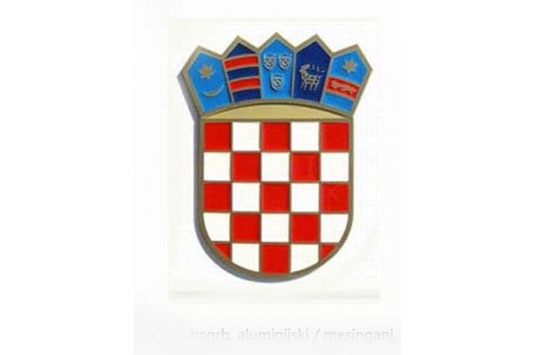 HR grb , aluminijski obojeni /HR grb aluminijski,pjeskareni/ Croatian Coat of Arms, aluminium, painted