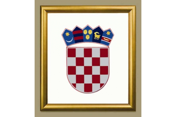 uokvireni vezeni hravtski grb / Framed  Croatian Coat of Arms, embroidered