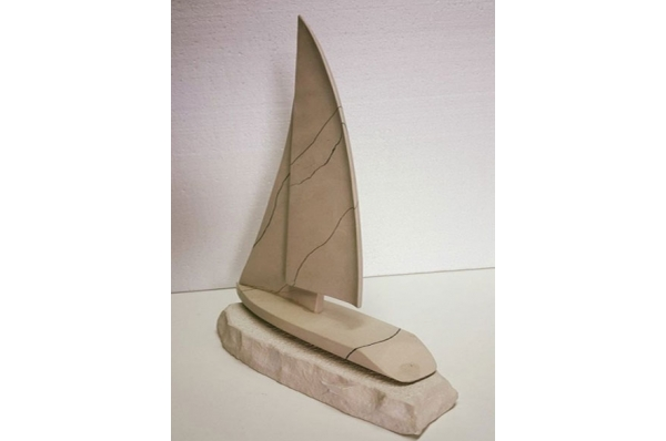 kamena jedrilica, 2 jedra / Stone Sailboat, two sail