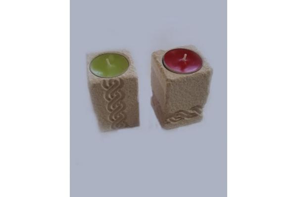 svijećnjak s pleterom, brački kamen /Stone Candlestick with croatian pleter
