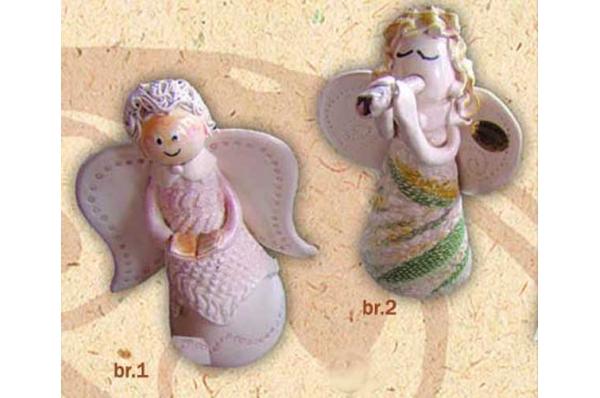 keramički samostojeći anđeli 15 cm /  Figurines, colored angels