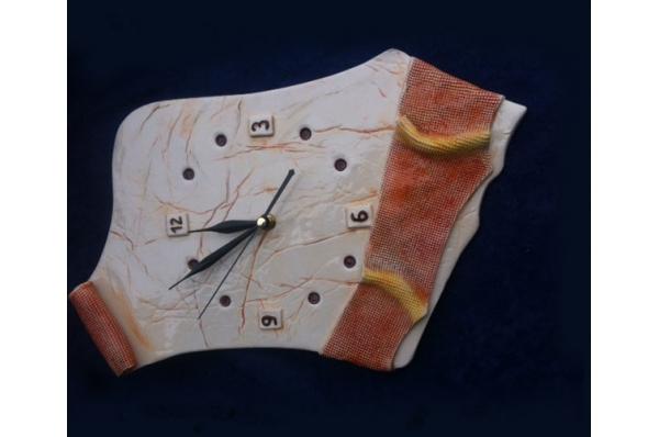 keramički zidni sat, unikat /Wall clock-unique, ceramics