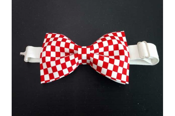 kockasta leptir mašna/ Bow Tie, red-with cubes