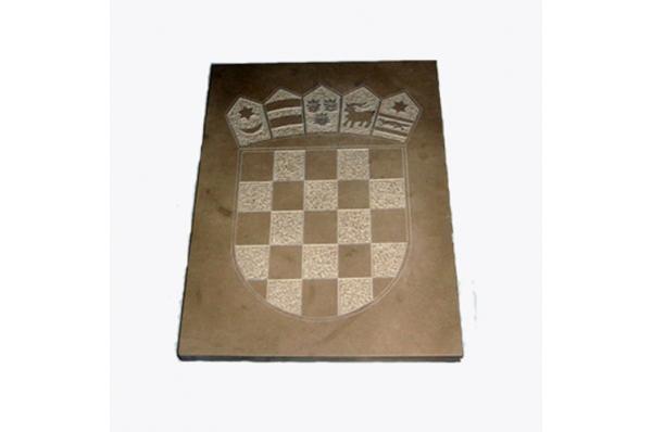 HR grb na ploći, brački kamen / Croatian Coat of Arms on Brac stone plate