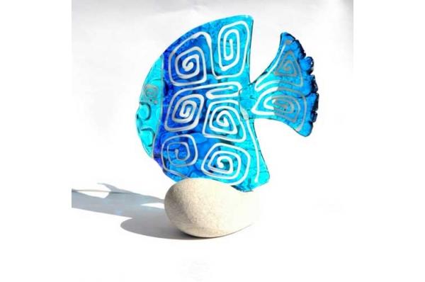 plava murano riba na kamenu/ Murano Fish on the Rock