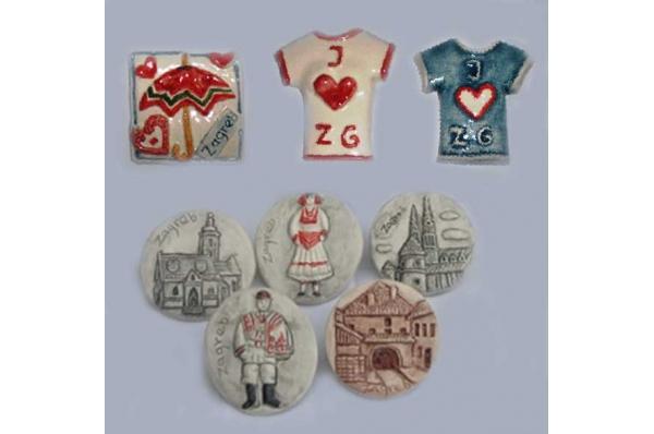 keramički magneti, zagrebački motivi /   Ceramic fridge magnets, motives from Zagreb