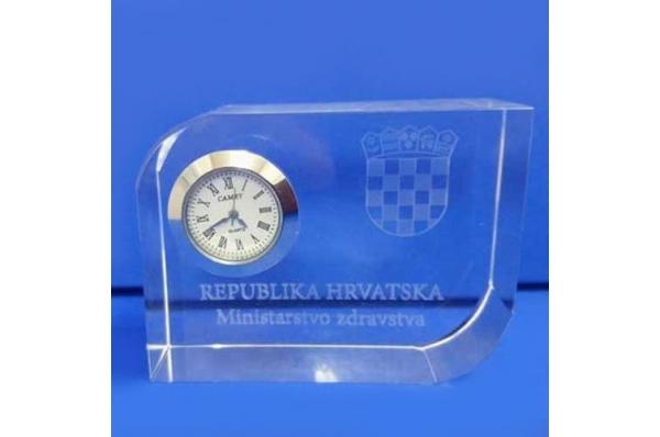 staklena kocka sa satom /Glass Cube Clock & 3D motives