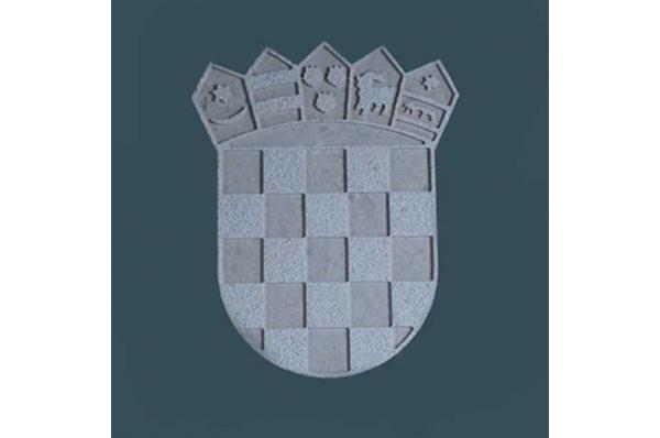 HR grb, razani brački kamen(neravni ) / Croatian Coat of Arms, Brac stone,rough surface                  )