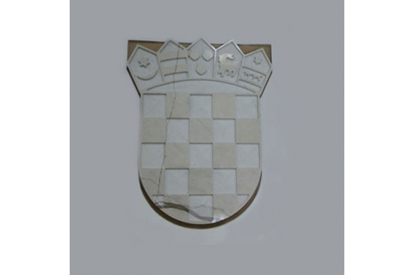 HR grb, razani brački kamen(glat)/ Croatian Coat of Arms, Brac stone, glat surface
