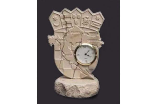 sat s hrvatskim grbom / Croatian Coat of Arms / Seahorse with Clock, Brac stone