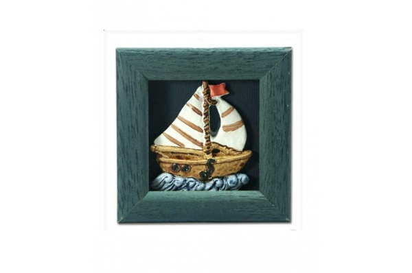 magnet, brod u reljefu / framde fridge magnets-boat framed